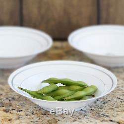8 oz Plastic WHITE with Silver Rim 6.25 BOWLS Party Wedding Catering Buffet