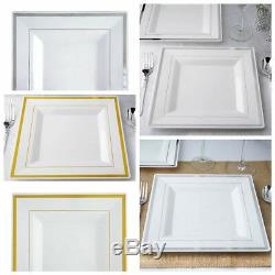 9.5 White Square Plastic Salad Luncheon Plates with Rim Wedding Disposable SALE