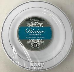 9 Party Essentials White with Silver Rim Plates (6 Packs of 40 Plates)