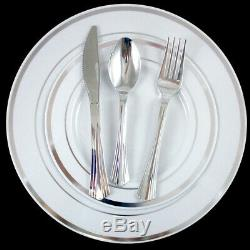 90 Disposable Plastic Plates Dinner Wedding Silverware Silver Rim Party Supplies