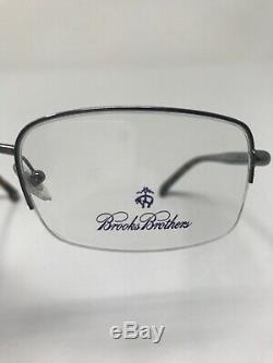 BROOKS BROTHERS BB499 Eyeglasses Frame 55-18-145 1507 Half Rim Silver Polish KQ9
