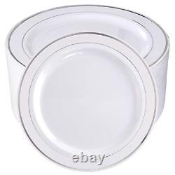 BUCLA 100Pieces Silver Plastic Plates-10.25inch Silver Rim Disposable Dinner for