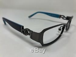 Bebe Eyeglasses Frame Obsess Steel Blue 52-16-135 Silver Full Rim ZQ20