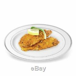 BloominGoods Silver Rimmed Plastic Dinner Plates (100 Pack) 10.25 Inch Heavywei