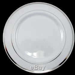 Bulk Dinner Wedding Disposable Plastic Plates Silverware Party Silver Rim 10 7