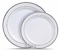 Bulk, Dinner / Wedding Disposable Plastic Plates & silverware white gold rim