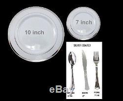 Bulk, Dinner / Wedding Disposable Plastic Plates & silverware, white /silver rim