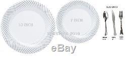 Bulk Dinner Wedding Disposable Plastic Plates silverware white swirl silver rim