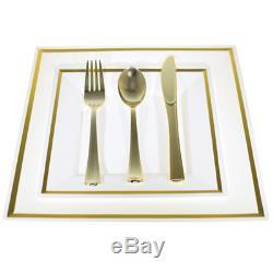Bulk, Dinner/Wedding Disposable Plastic Square Plates silverware, silver/gold rim