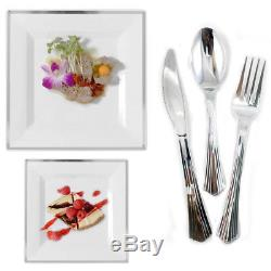 Bulk Square Dinner Wedding Disposable Plastic Plates Dinnerware Party Silver Rim