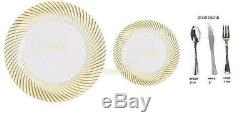 Bulk wedding party disposable plastic plates silverware silver rim gold rim
