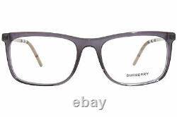 Burberry B2274 3544 Eyeglasses Frame Transparent Grey Full Rim Rectangular 55mm