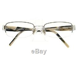 Burberry Eyeglasses B 1017 1027 Silver Horn Half Rim Frame Italy 5319 140