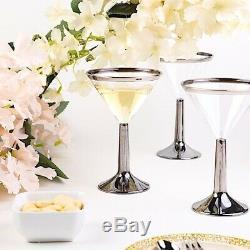 CLEAR SILVER RIM 5 oz Martini Cocktail Plastic Glasses Wedding Party Tableware