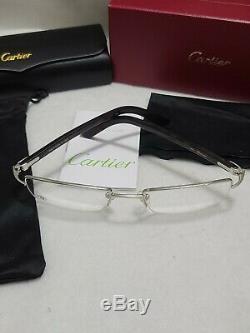 Cartier Rectangular Silver Half Rim Optical Glasses