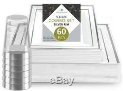 Disposable Dinnerware Pack of 60 20 each, 10 & 7 Silver Rim with Cups