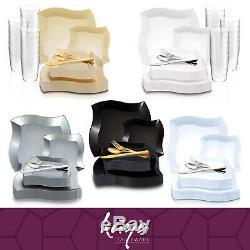 Disposable Plastic Dinnerware Set Party Package Standard Wave Design Rim Plates