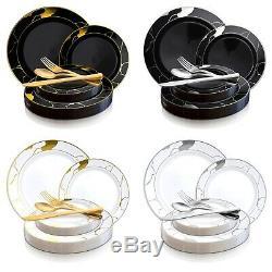 Disposable Plastic Dinnerware Set Wedding Party Package Elegant Marble Plates