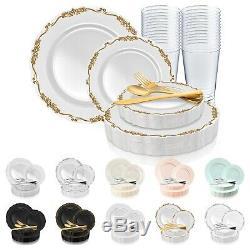 Disposable Plastic Dinnerware Set Wedding Party Package Elegant Vintage Plates