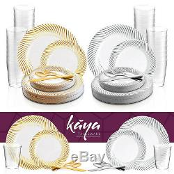 Disposable Plastic Dinnerware Set Wedding Party Package Metallic Swirl Design