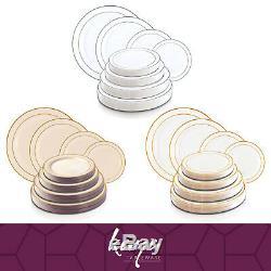 Disposable Plastic Plates Round Metallic Rim Dinner Buffet Salad Pastry 120pcs
