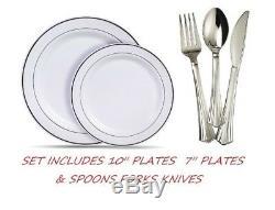 Disposable Plastic Plates & silverware white silver rim Set Party Anniversary