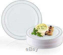 Elegant Disposable Plastic Dinner Plates 120 Pcs Heavy Duty Fancy Round White
