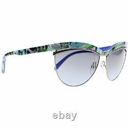 Emilio Pucci EP 10 89W Blue White Plastic Cat Eye Sunglasses 61-15-135 EP0010