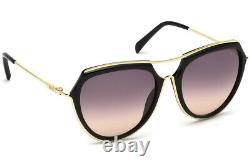 Emilio Pucci EP16 01B Large Black Gold Aviator Sunglasses Frame 56-18-135 EP0016