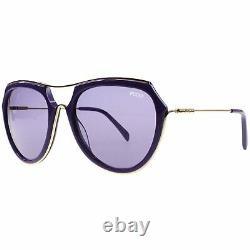 Emilio Pucci EP16 Purple Gold Plastic Aviator Sunglasses Frame 56-18-135 EP0016