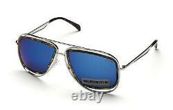 Emilio Pucci EP3 89X Blue Mirrored Silver Aviator Sunglasses 58-15-135 EP0003