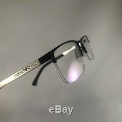Emporio Armani EA 1041 3094 Eyeglass Frames Flex Half Rim Black Silver 55-17-140