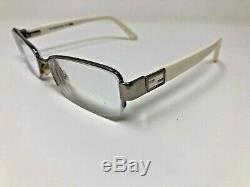 Fendi 963 Eyeglasses Frame 53-16-135 045 Italy White Silver Half Rim MB66