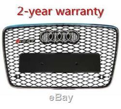 For 06-15 Audi Q7 RSQ7 Style Front Sport Black Mesh Bumper Grill Silver Rim