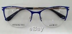 GUESS GU2666 Blue/Silver 090 Semi Rim Metal Eyeglasses Frame 53-17-135 CatEye