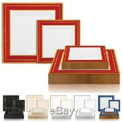 Gold Square Edge Rim Disposable Plastic Plates Wedding Party Value Sets 120 pcs
