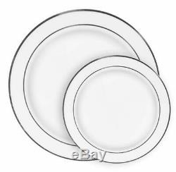 Ilyapa 60 Silver Rim Plastic Plates Set Bulk White Silver Rimmed Dinner Sala
