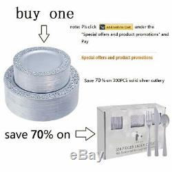 Iooooo 102 Pieces Silver Plastic Plates, Lace Rim Disposable Party Plates, Premi