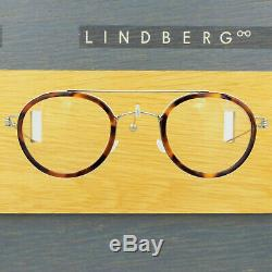 Lindberg Air Rim Teitur Silver Tortoiseshell Round Eyeglasses Spectacle Frames
