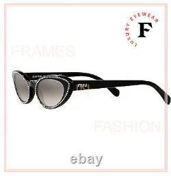 MIU MIU CORE 09U Black Crystal Rim Slim Narrow Cat Eye Sunglasses MU09US