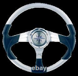 Marine Boat 3-Spoke wheel Siren silver aluminum black plastic rim A350mm B90mm