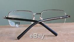 Mont Blanc MB528U 006 Eyeglass Half Rim Frame OLD SILVER & Black New with case