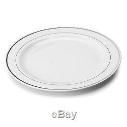 Mozaik 200 Disposable Silver Rimmed Plates 23cm Diameter Party Plastic Tableware