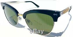 NEW GUCCI GG0055S Gold Black Club Masterly Half Rim Cat Eye Womens Sunglasses