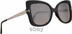 NEW Tom Ford Gianna-02 TF609 Shiny Black Butterfly Full Rim Sunglasses 54mm