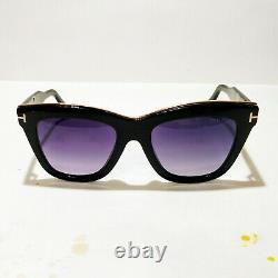 NWT- Tom Ford Julie TF685 01C Sunglasses Black Gold Trim Cateye Full Rim with Case