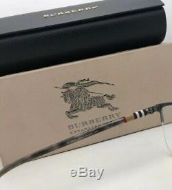 New BURBERRY Eyeglasses B 1323 1014 54-18 Half Rim Matte Silver with Plaid Design