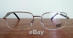 New Mont Blanc MB528U Eyeglass Half Rim Frame Dark SILVER Black LARGE for man