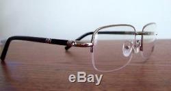 New Mont Blanc MB528U Eyeglass Half Rim Frame SILVER Black LARGE for man