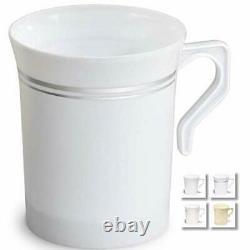 OCCASIONS 120 Mugs Pack, Heavyweight 8. Coffee Mug 8oz White & Silver Rim